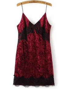 Burgundy Contrast Lace Velvet Bodycon Dress