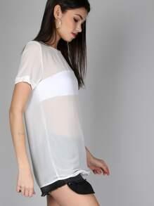 Sheer Short Sleeve Top WHITE