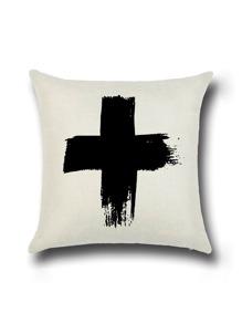 White Cross Print Linen Cushion Cover