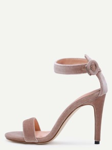 Apricot Open Toe Ankle Strap Velvet Stiletto Sandals