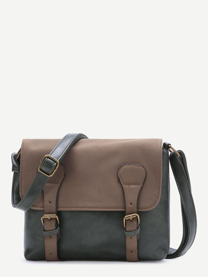 Dark Green Color Block Double Buckle PU Shoulder Bag