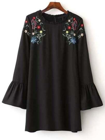 Flower Embroidered Frill Neckline Bell Cuff Dress