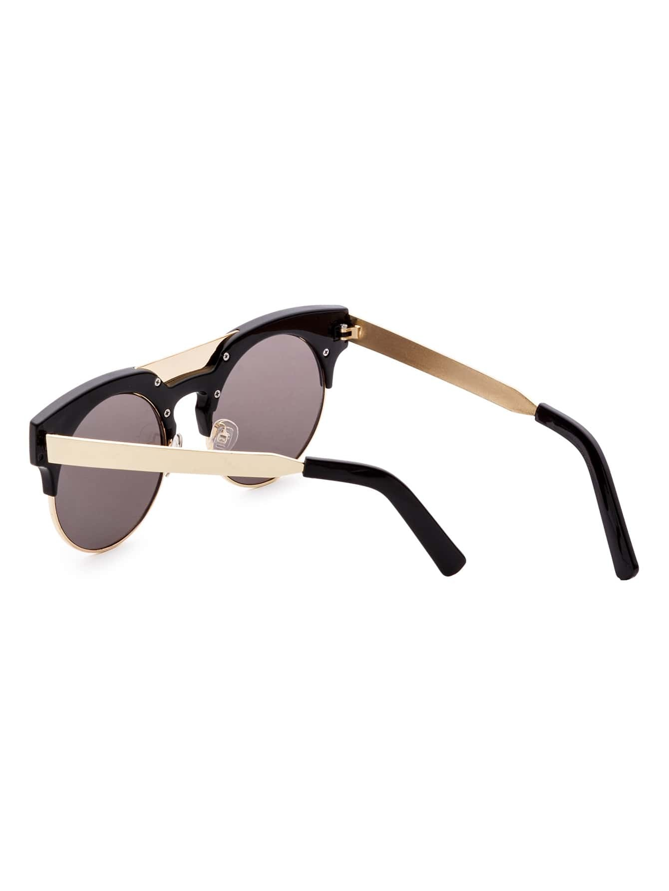 Black And Gold Frame Round Sunglasses -SheIn(Sheinside)