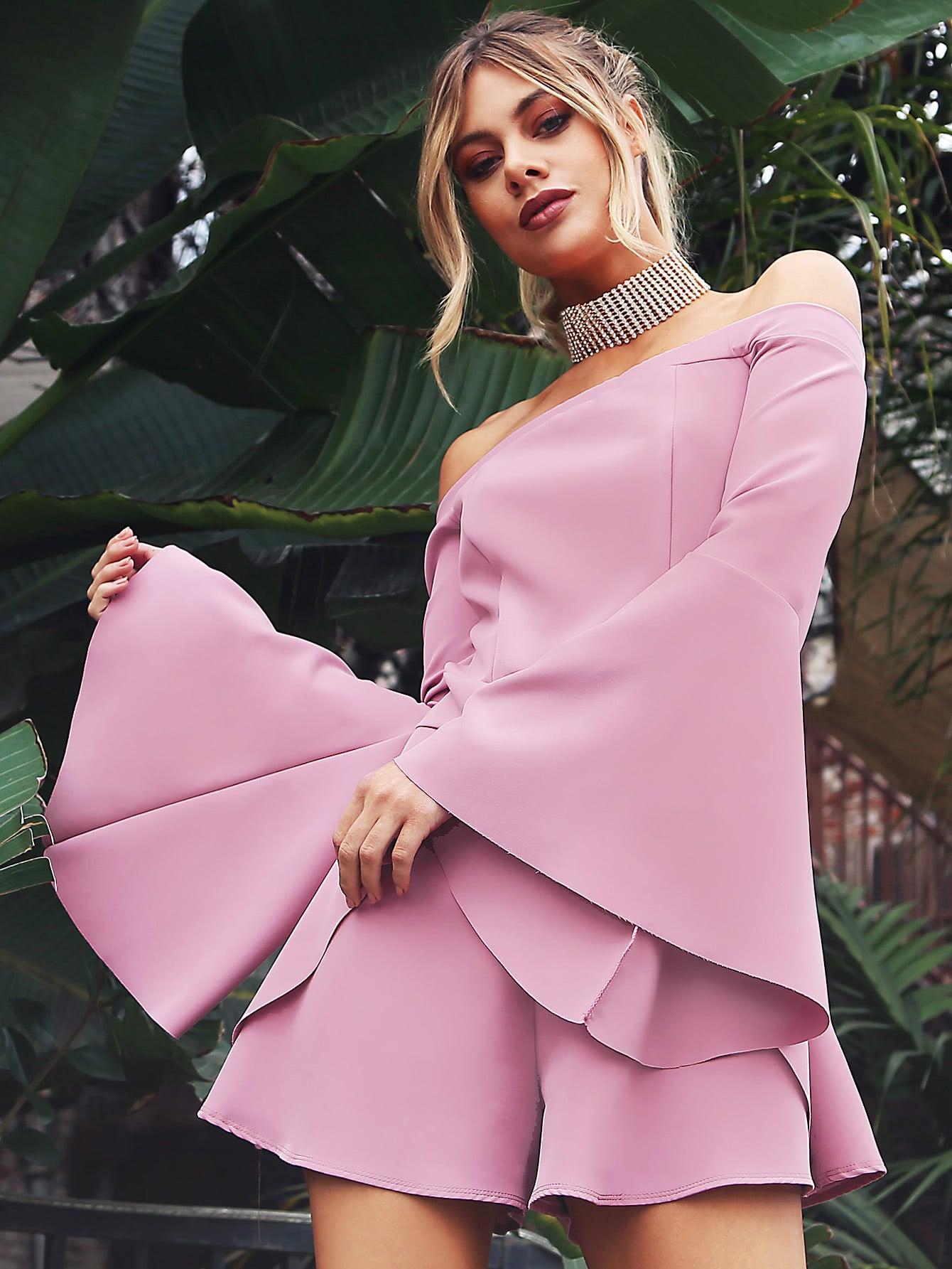 Фото Bardot Neckline Fluted Sleeve Romper MAUVE. Купить с доставкой