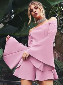 Bardot Neckline Fluted Sleeve Romper MAUVE