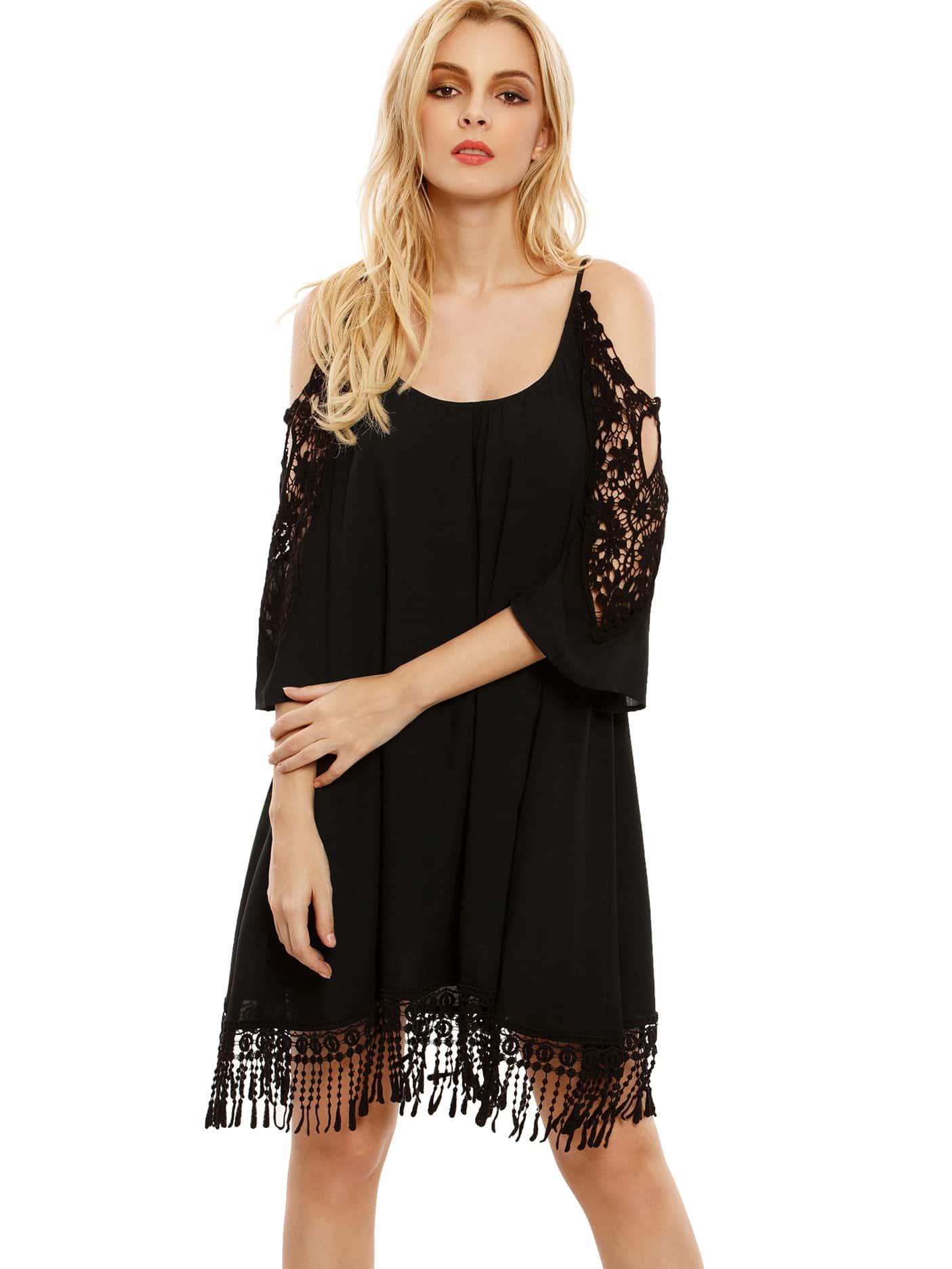 Black Open Shoulder Crochet Lace Sleeve Tassel Dress dress160711758