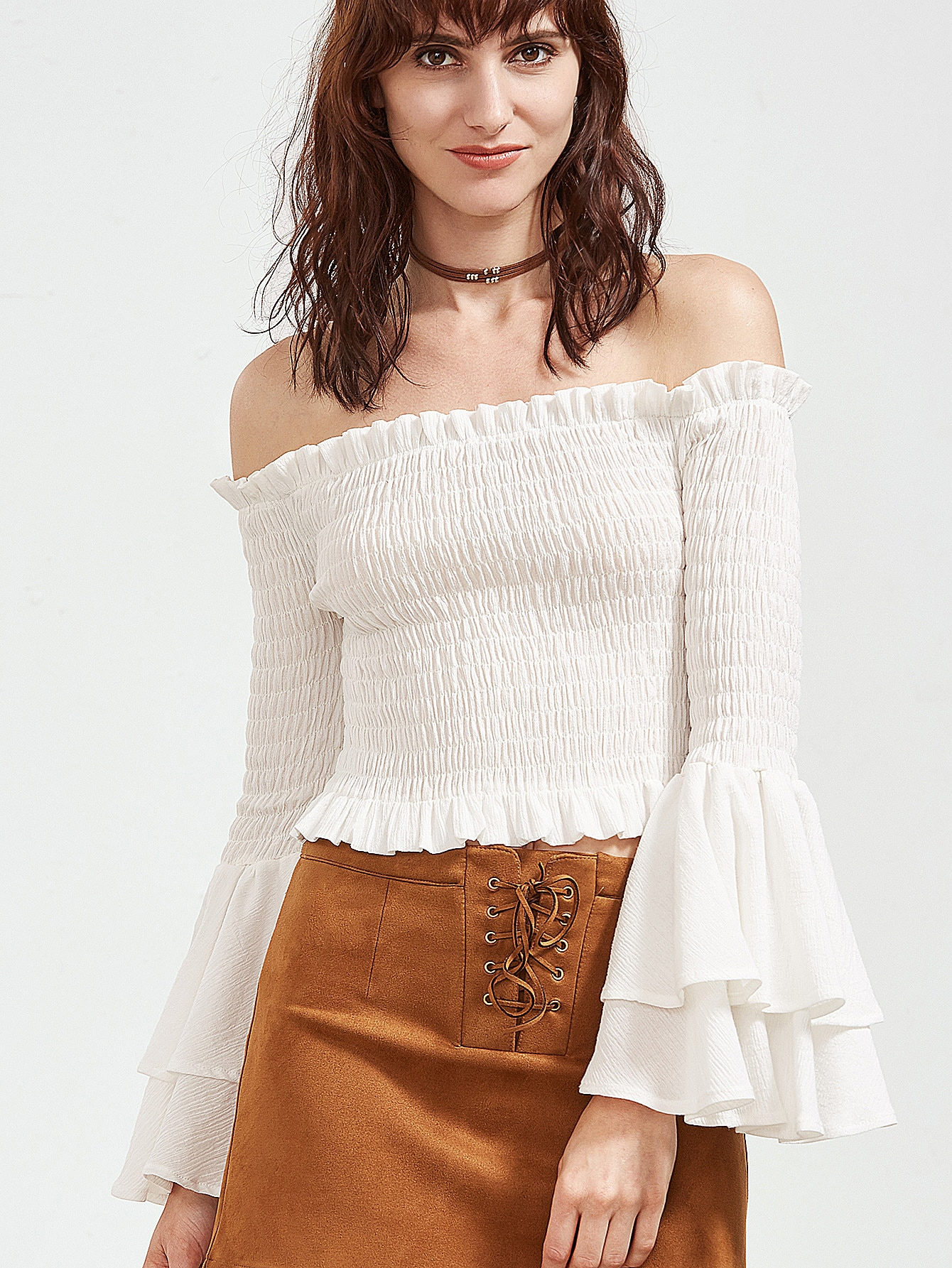 White Off The Shoulder Tiered Bell Sleeve Shirred Top blouse170217005