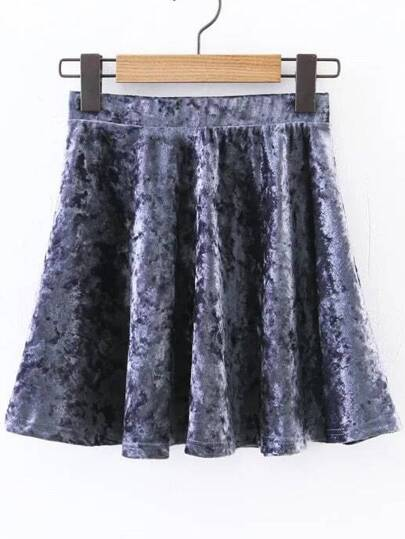 Smoke Blue Velvet Swing Skirt
