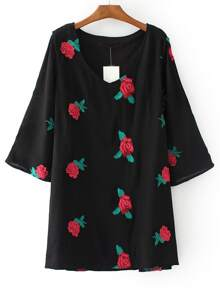 Black V Neck Floral Embroidered Shift Dress