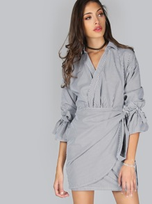 Tie Cuff Pinstripe Wrap Dress