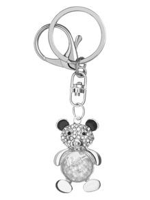 Silver Rhinestone Bear Keychain
