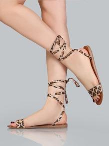 Leopard Print Faux Suede Sandals LEOPARD