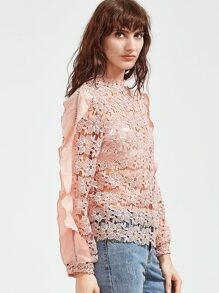 Pink Ruffle Trim Hollow Out Embroidered Lace Top