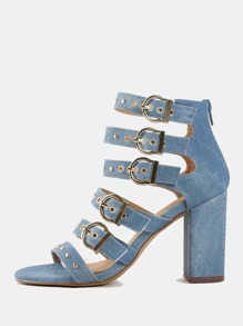 Denim Studded Chunky Heels DENIM