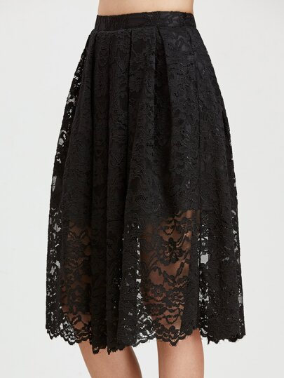 Floral Lace Overlay Box Pleated Skirt