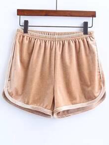 Shorts cintura elástica de terciopelo - kaki
