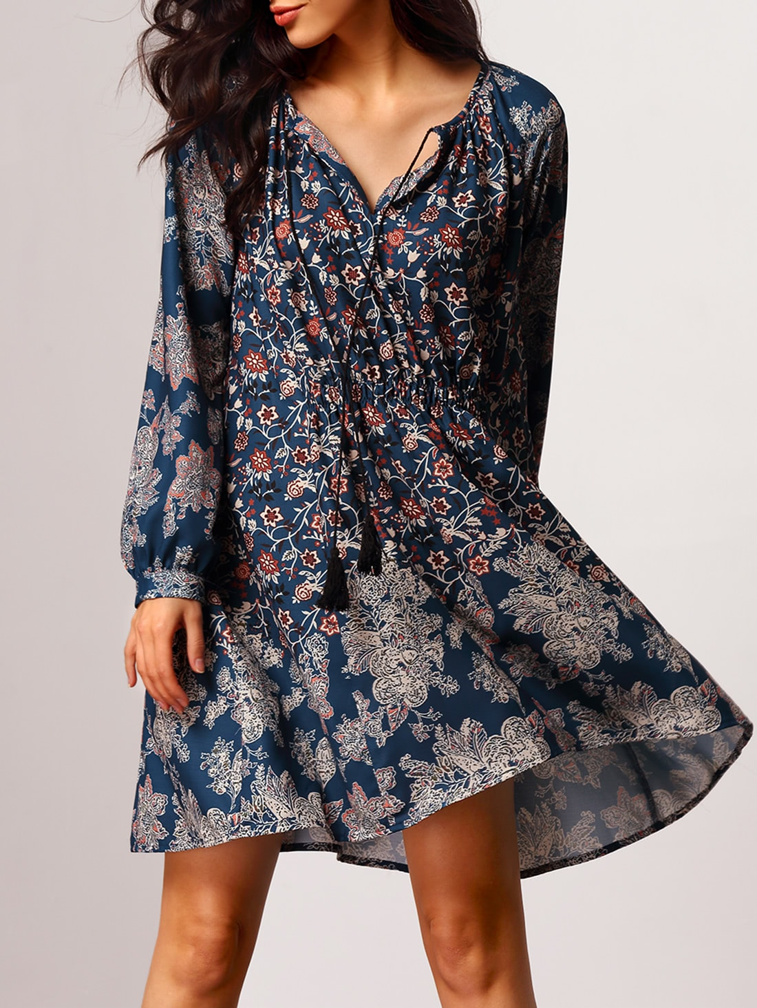 Купить Модное платье с цветочным принтом в ретро стиле, Leslie, SheIn