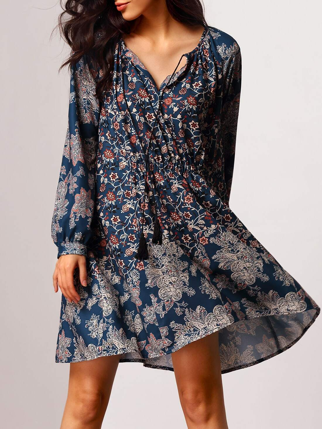 Vintage Print Dress With Fringe