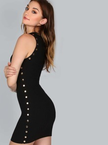 Sleeveless Button Embroidered Dress BLACK