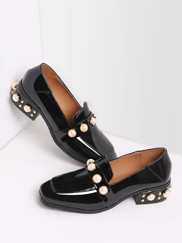 Black Pearl Studded Patent Leather Low Heel Loafers, null