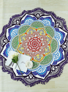 Multicolor Lotus Flower Shape Fringe Trim Beach Blanket