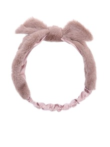 Khaki Faux Fur Knotted Bow Headband