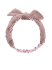 Khaki Faux Fur Knotted Bow Headband