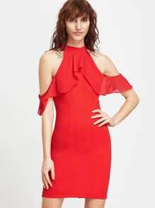 Red Cold Shoulder Ruffle Sheath Dress