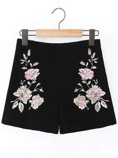 Flower Embroidered Zipper Side Velvet Shorts