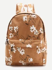 Brown Flower Print Canvas Backpack