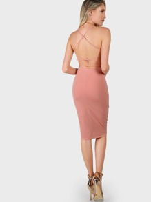Criss Cross Tank Dress PEACH