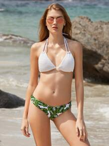 White Leaf Print Halter Mix & Match Bikini Set