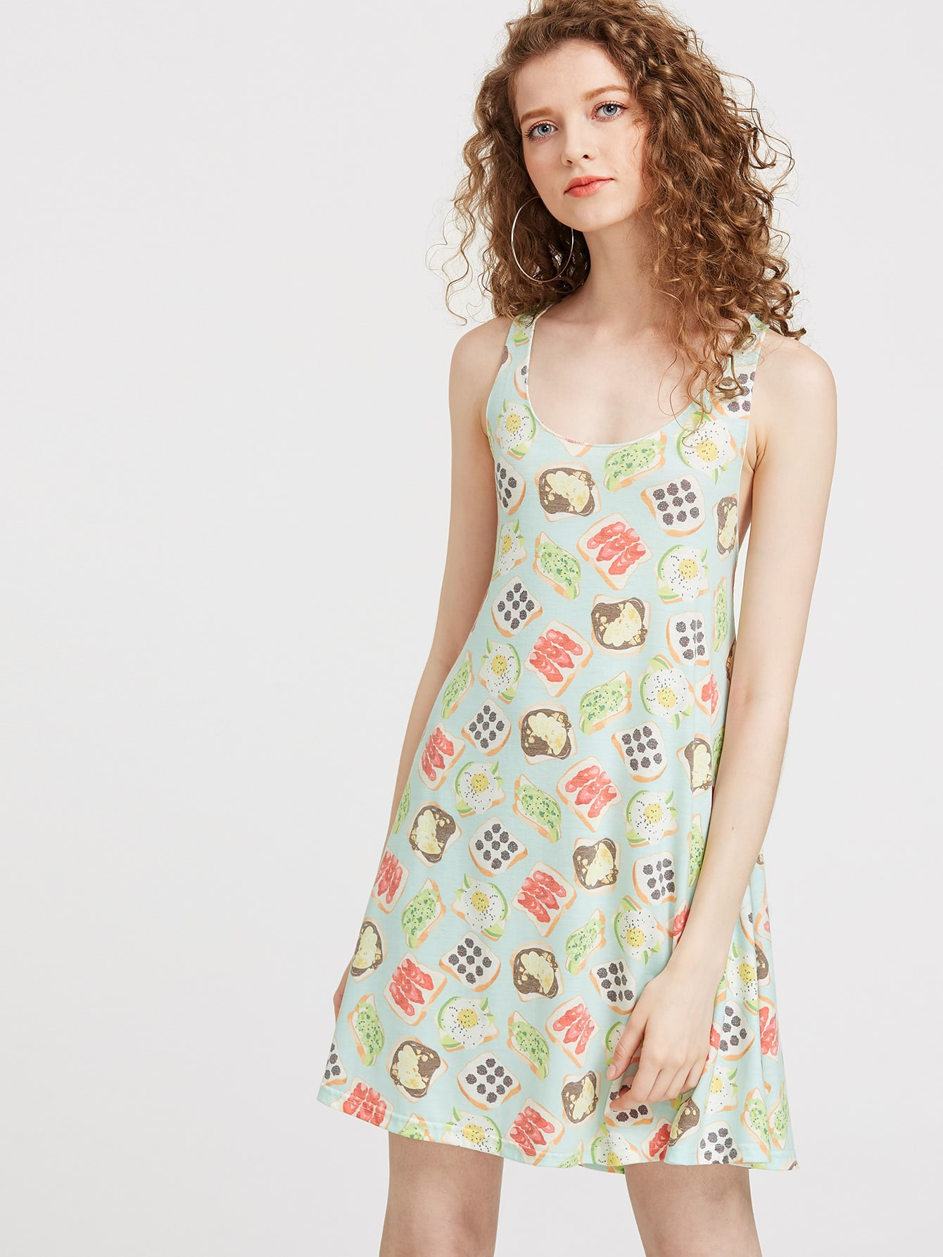 Фото Sandwich Print Double Scoop A Line Tank Dress. Купить с доставкой