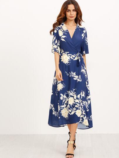 V Neckline Florals Wrap Dress