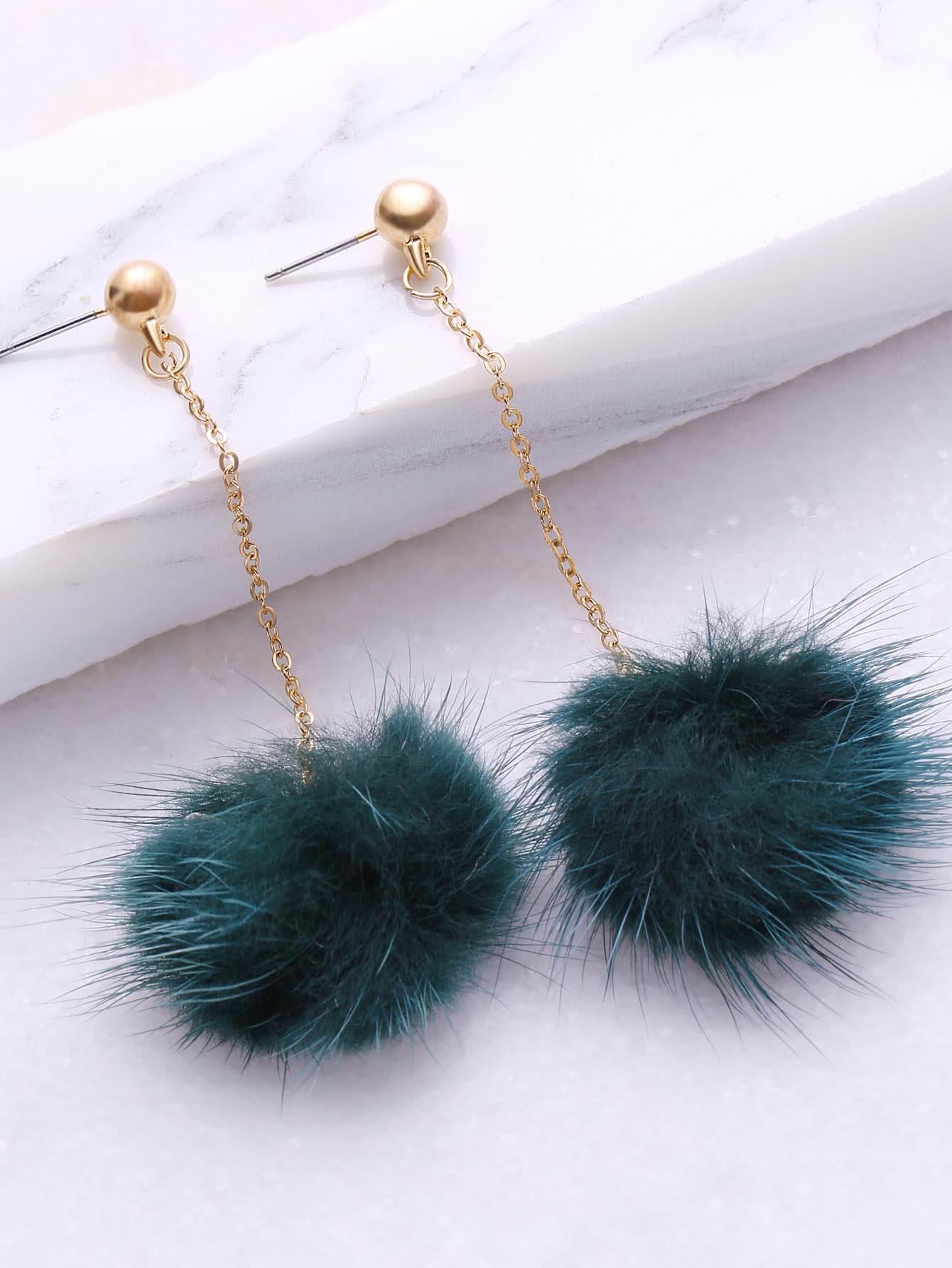 Dark Green Pom Pom Drop Earrings aqua aqualon dark green 100m 0 18mm 13 60kg