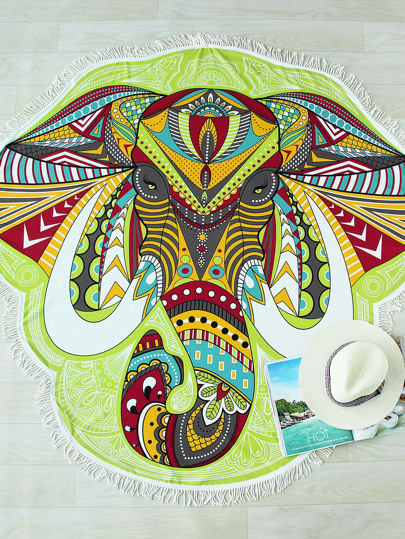 Multicolor Elephant Print Fringe Design Asymmetrical Beach Blanket