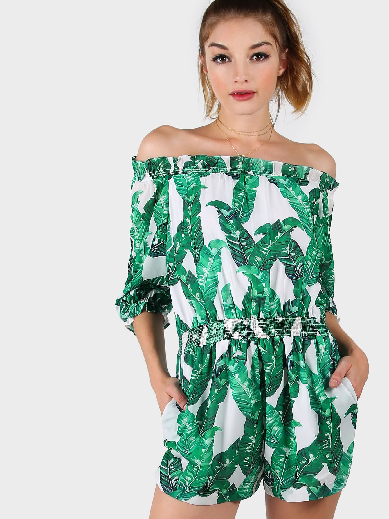 Фото Tropical Print Frilled Bardot Elasticated Waistband Romper. Купить с доставкой