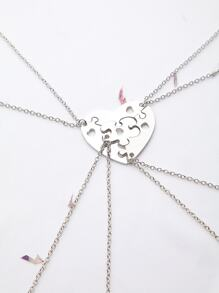 Silver Heart Hollow Out Necklace Set