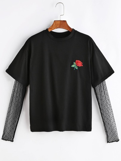 Rose Embroidered Patch Contrast Mesh Sleeve 2 In 1 T-shirt