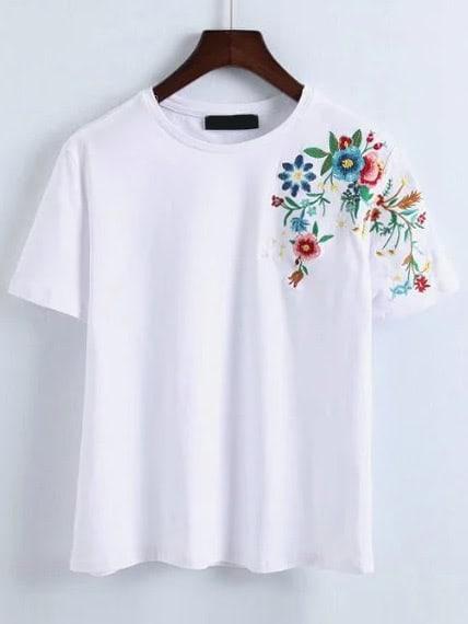 Фото Flower Embroidery T-Shirt. Купить с доставкой