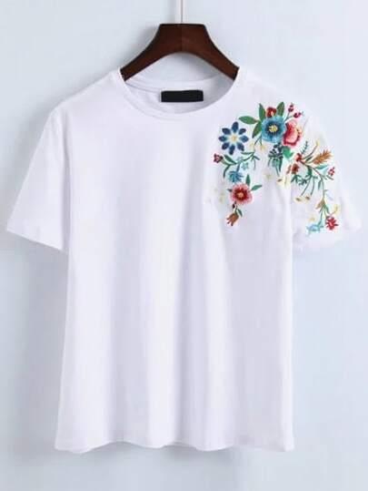 Flower embroidery t shirt shein sheinside