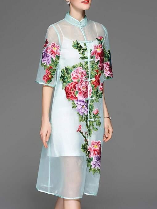 Фото Green Sheer Flowers Embroidered Dress. Купить с доставкой