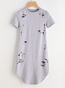 Heather Grey Curved Hem Distressed Tee Dress