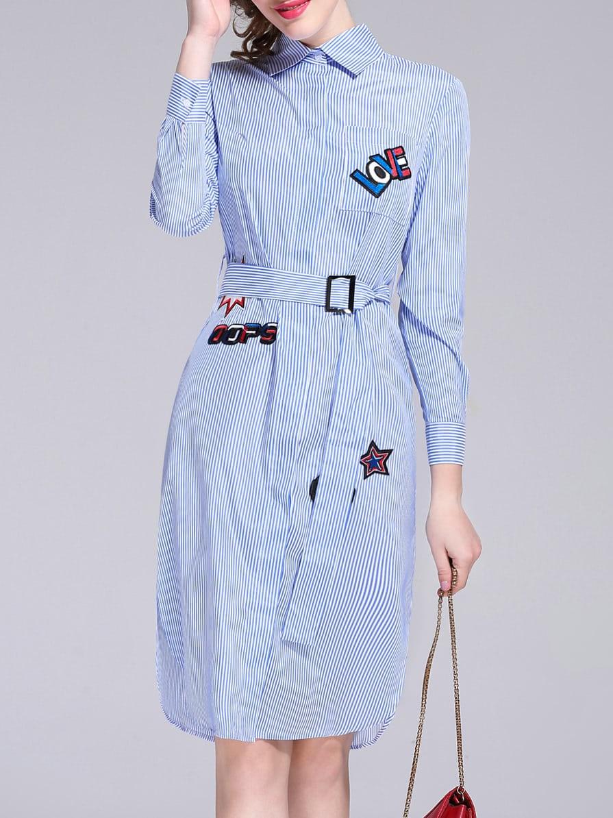 Фото Blue Lapel Belted Applique Pouf Striped Dress. Купить с доставкой