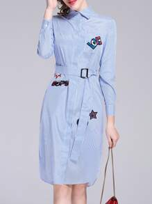 Blue Lapel Belted Applique Pouf Striped Dress