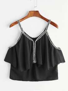 Black Contrast Crochet Trim Ruffle Cami Top