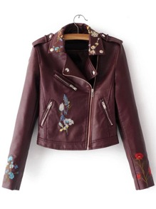 Burgundy Embroidery Oblique Zipper PU Jacket