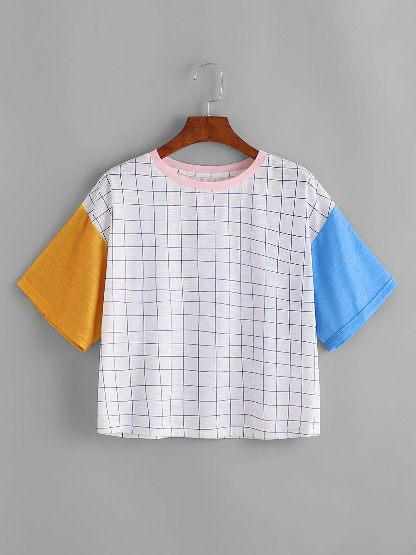 Фото Grid Print Color Block Cut And Sew T-shirt. Купить с доставкой