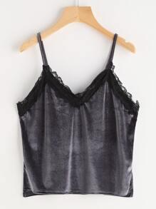 Grey Contrast Lace Trim Velvet Cami Top
