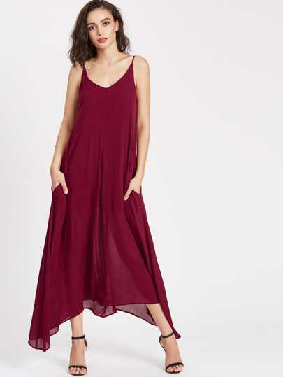 Double V Neck Hanky Hem Cami Dress